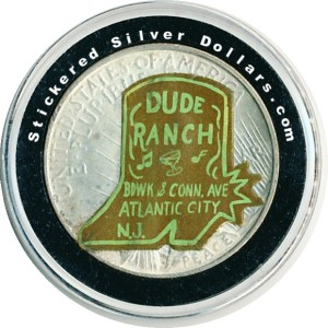 The Atlantic City Dude Ranch Silver Dollar Sticker