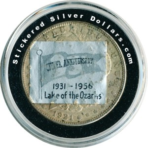 1931 - 1956 Lake of The Ozarks Silver Anniversary Stickered Morgan Dollar.