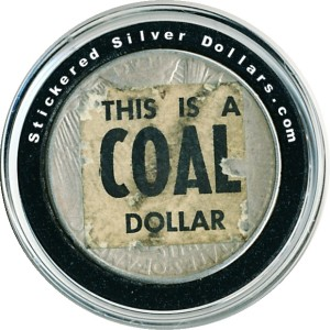 This is a Coal Dollar Sticker on 1922 Peace Dollar