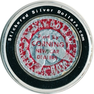 Paid By Corning New Car Dealers Stickered Morgan Silver Dollar