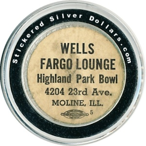 Wells Fargo Lounge Highland Park Bowl Moline Illinoiss Silver Dollar